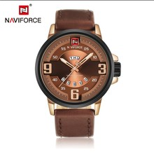 Naviforce brand luxury japanese movement china watch analog week date clock for man business leather band sport men quartz watch