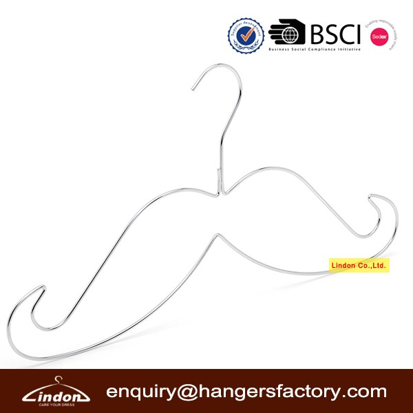 Assessed Supplier LINDON custom metal wire moustache clothes display fashionable hangers