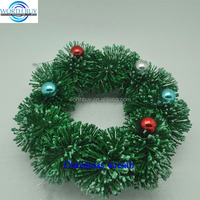 "3.5"" colorful beads decorated artificial pine needle evergreen Christmas wreath"