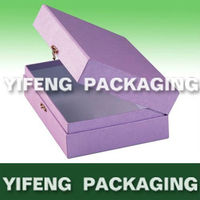 metal lock wonderful purple makeup purple paper cardboard case box cosmetic box