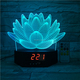 3D visual lamp with Clock flower shape acrylic illusion led deco mood light