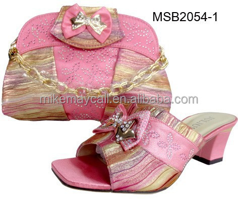 Low heel /Flat Wedding women shoes and matching bag set