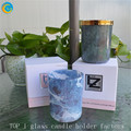 Glass material candle jars with ceramic effect