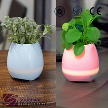 Amazon innovative new products solar energy plastic flower pot used in home and office led illuminated flowerpot