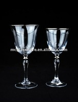 handmade clear wine glass with silver rim and silver beaded