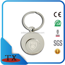 metal round shape hold coin Israel printing euro coin holder keychain