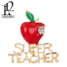 Fashion Jewelry Christmas Gift Cute Christmas Eve Red Teacher's Apple Fruit Brooch Pin With Clear Rhinetones Enamel