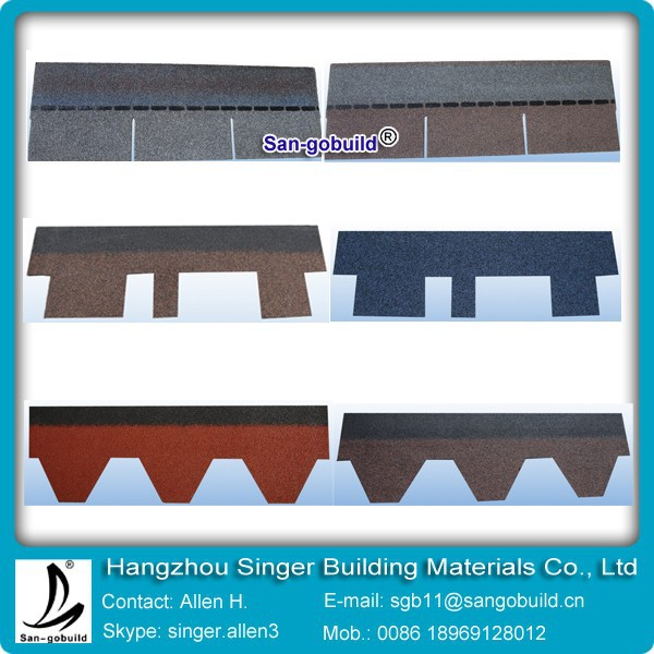 Grey/Red/Brown/Black/Green/ fiberglass asphalt shingles for roofing