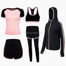 Lady's summer sexy 5 pieces sport yoga wear set