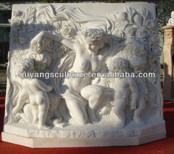 Classic Stone Relief Carving Sculpture Lady and Boys