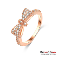 Cute Full Rhinestone Bow Tie Young Girls Ring Fashion 18K Rose Gold Plated CRI0143-A