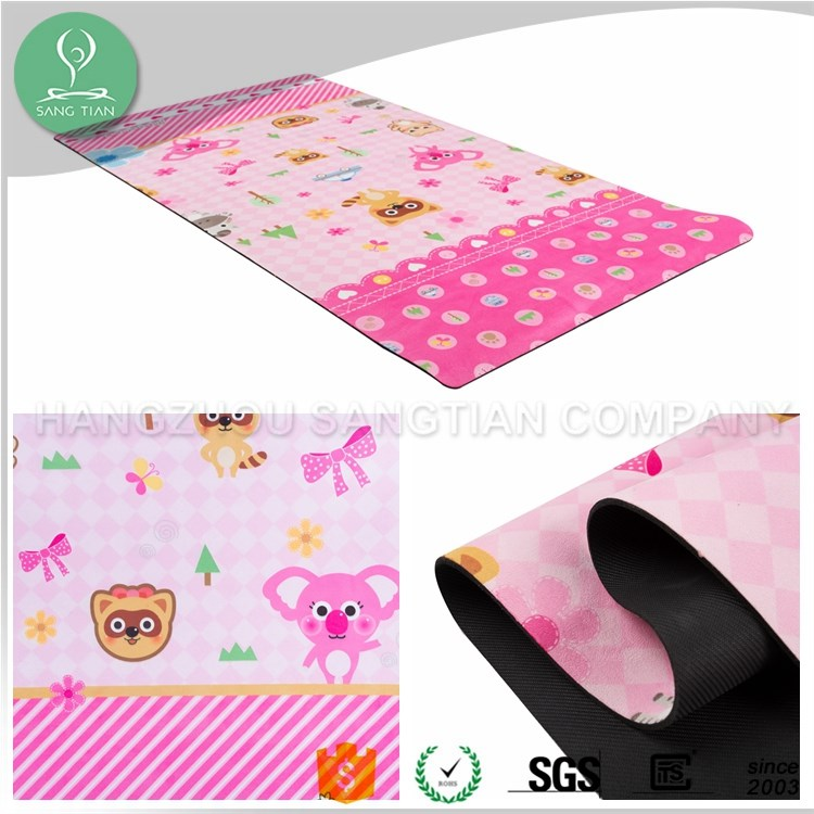 Best kids cartoon pattern printed natural rubber a yoga mat wholesale china with carrying strap