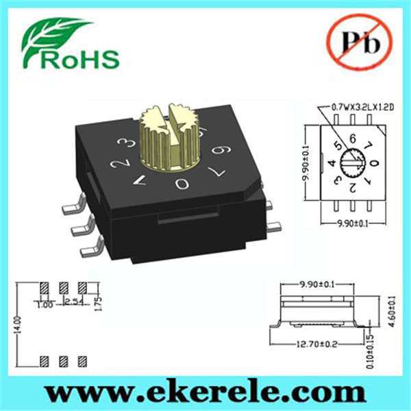 Factory price 10 x 10 mm 3 + 3 pins rotary encoding switch