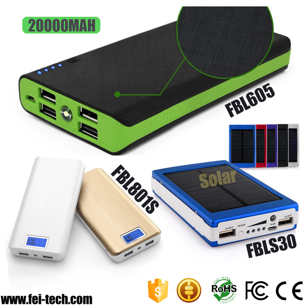 portable solar fast charging power banks with 3 usb outputs