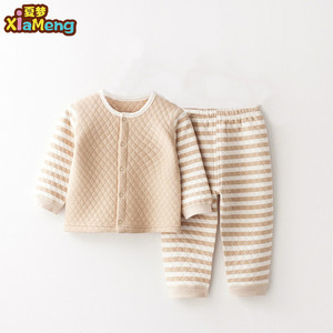 2018 winter stripe style new born baby clothes sets organic cotton