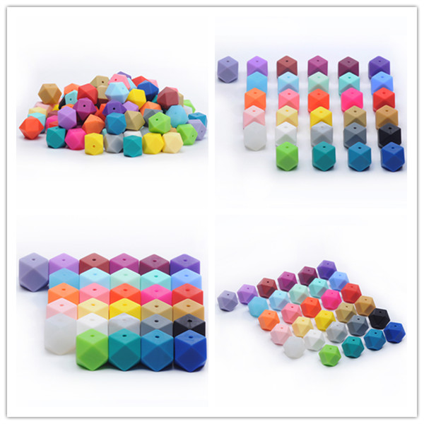 2017 New Colors And New Shape Baby Chew BPA free Teething Icosahedron Soft Silicone Beads Wholesale