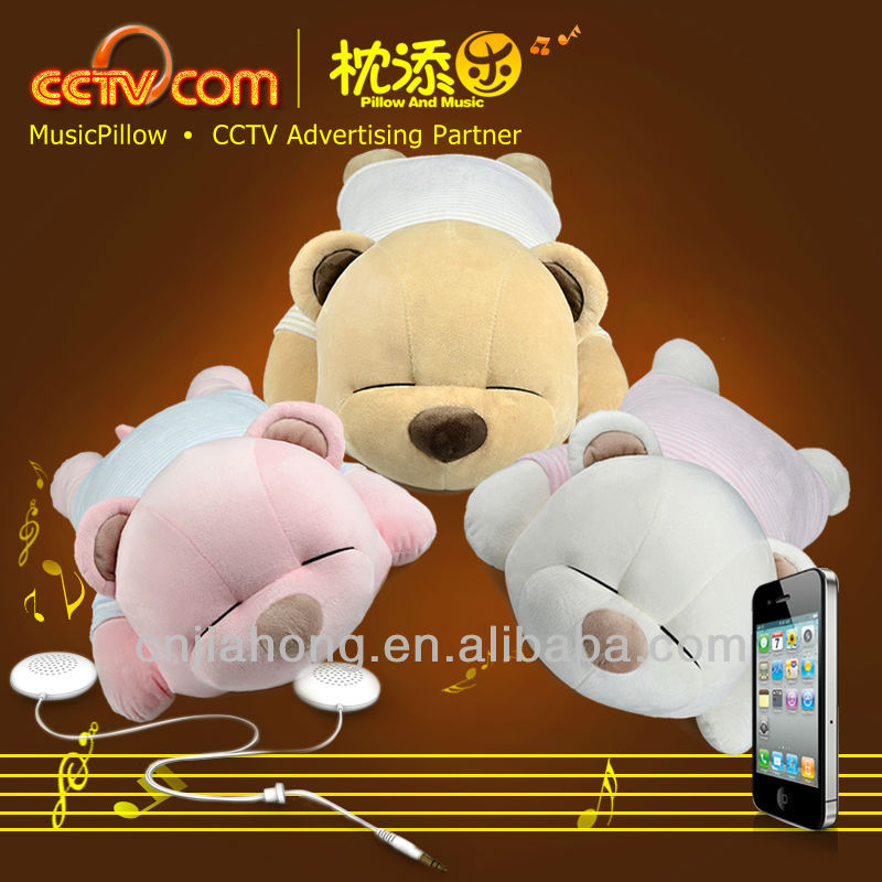 Top100 Christmas 2013 new hot item gifts! Washable Plush Tare Bear Music Cushion Pillow- CE SGS ROHS