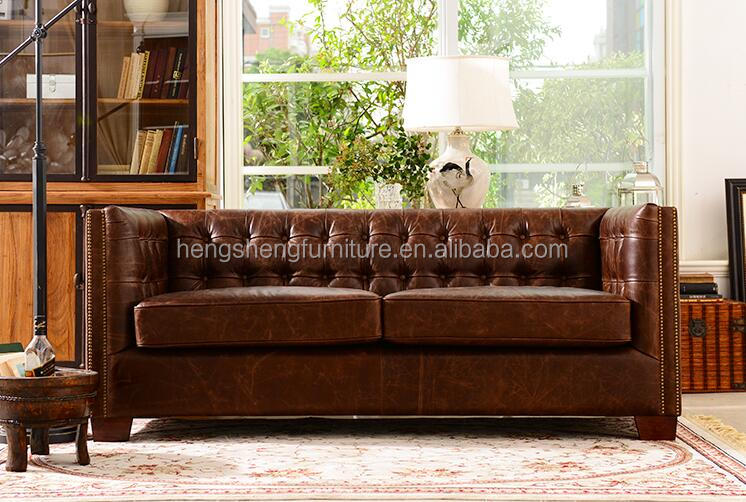 Classic vintage chesterfield genuine leather tuffted sofa living room leather sofa luxury leather sofa