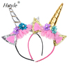 Gold Glitter Unicorn Horn Headband, Flowers Ears Headbands for Party Decoration or Cosplay Costume FG001