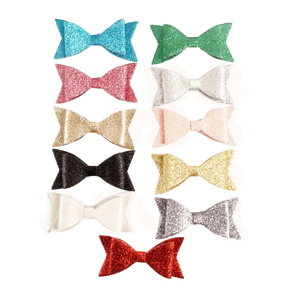 HBW-1603261 New Arriaval Swallow Tails Double Stacked Shimmering Glitter Hair Bow