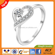 2016 cheap sliver rings jewelry,heart shape diamond rings,for women engagement wedding ring