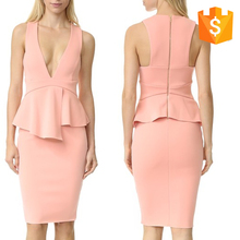 China Wholesale Online Hot Selling Latest Cocktail Dress Designs Deep-V Sleeveless Sexy Wrap Peplum Dress