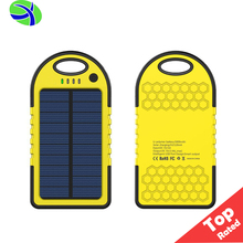 2017 Wholesale 5000mah Solar Panel Battery Charger, 1.2W Waterproof Solar Power Bank USB Charger, Solar Mobile Phone Charger