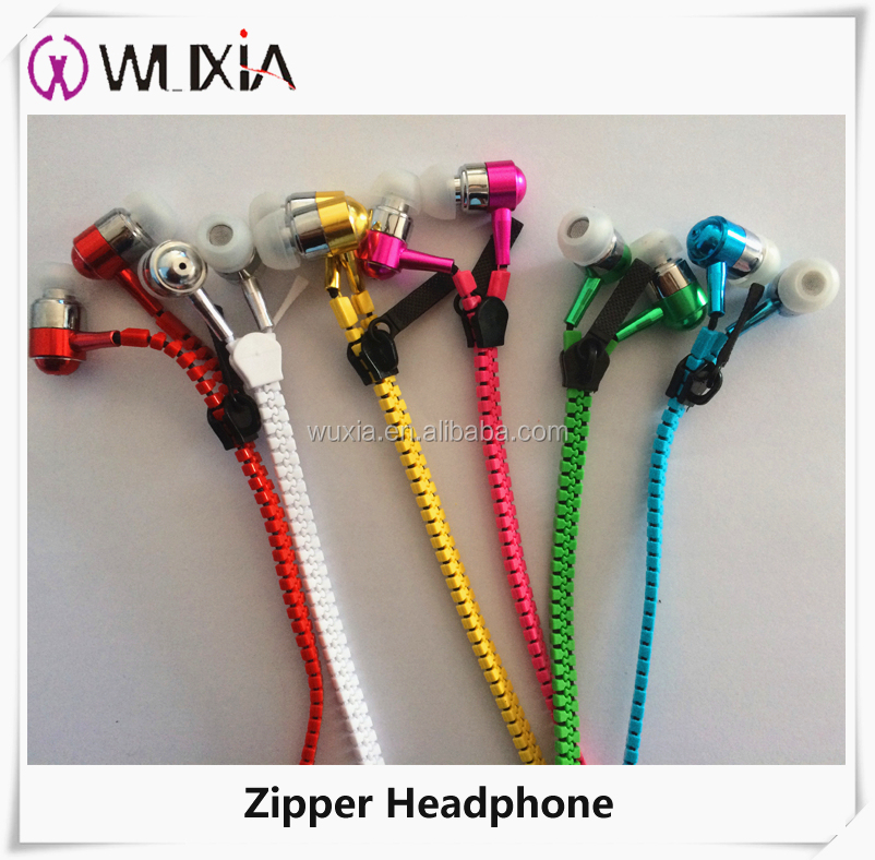Fashion Hot Zipper Earphone Metal Shell In-Ear Mobile Earphone