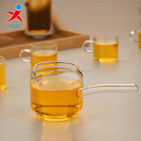 pyrex glass tea cup with long handle for kongfu tea