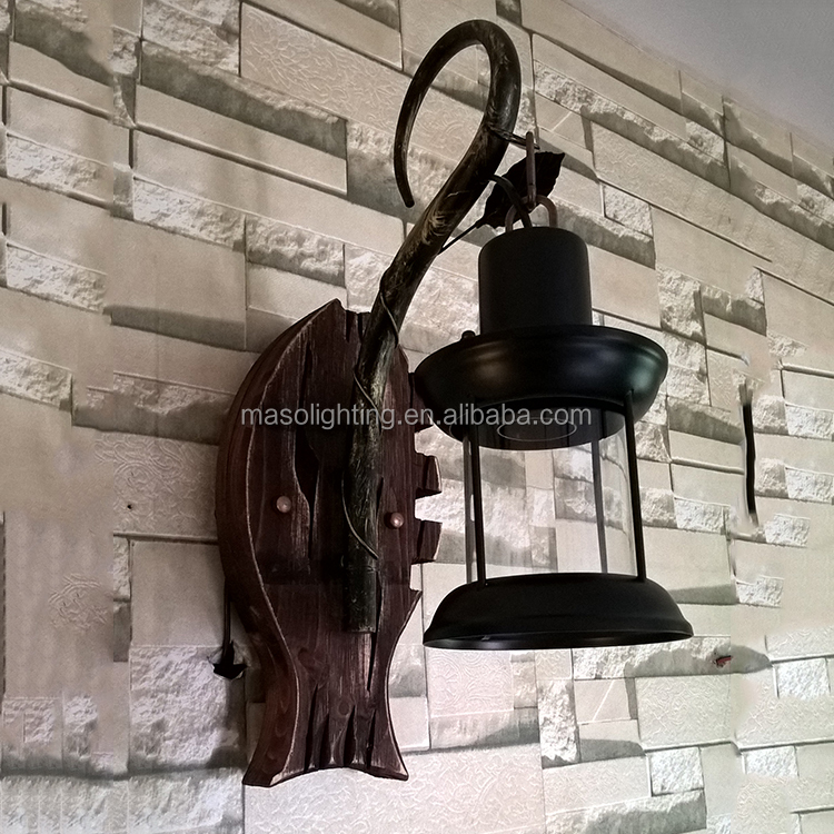 zhongshan factory led industrial wood vintage wall lamp decorative wood fish shade e27 lamp holder