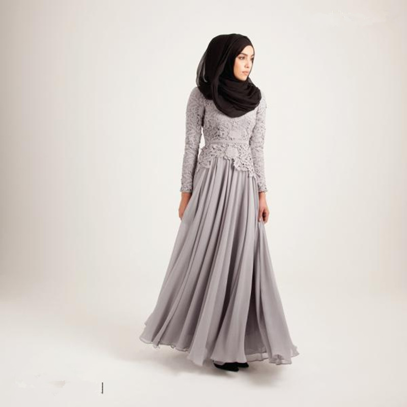 Hot Sale Muslim Maxi Dress Fashion Design Evening Gown with Lace Top