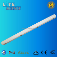 125lm/w IP65 linear led batten, PC Base + PC milky Cover, Microwave sensor