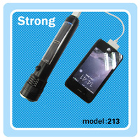 high power Aluminum Alloy solar 5000 mah led torch light portable power bank