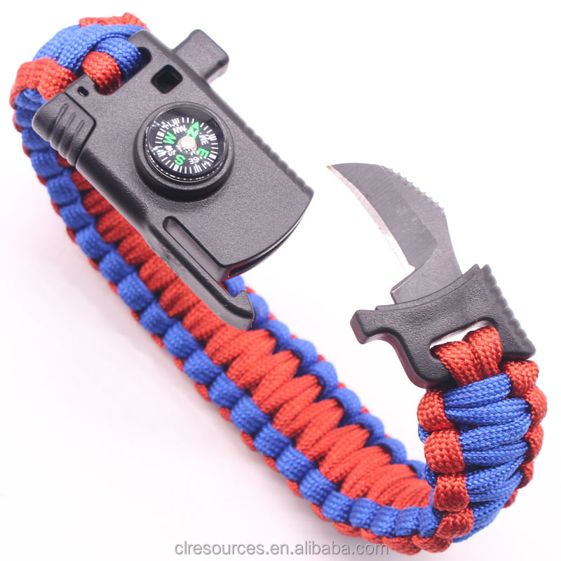 Fashion New Arrival bracelet knife outdoor fire knife multi-function hand rope camping survival emergency bracelets