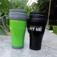 plastic insulated double walled coffee mug thermal cup