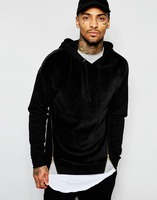 2016 Winter Black Pullover Men Oversized Hoodie with Gold Size Zips