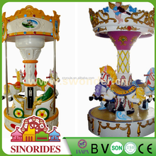 3 Seats Animal Carousel Coin Children Machine From Swonder Factory