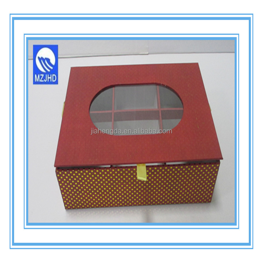 Rectangle Chocolate Cardboard Paper Gift Box with PVC Window and 6 Dividers Hot Stamping Design