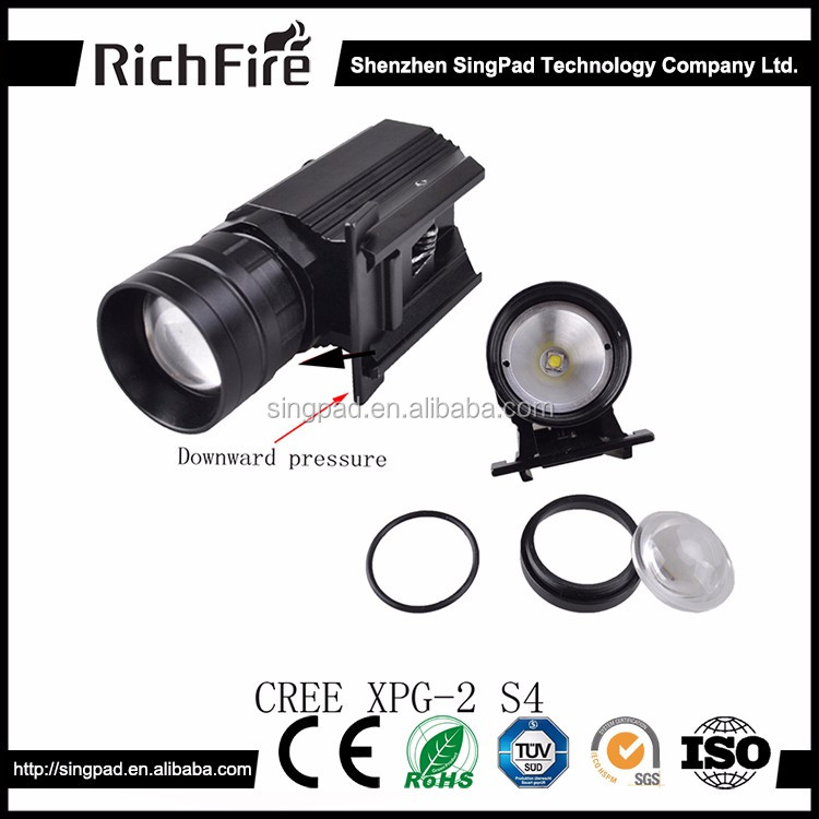 Rechargeable White LED Strong Light Tactical Flashlight With 20mm Gun Mount