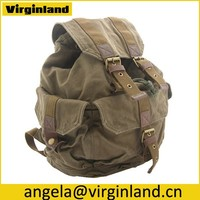2350 Leisure Army Green Military Style Canvas Cotton Flap Backpack For Men