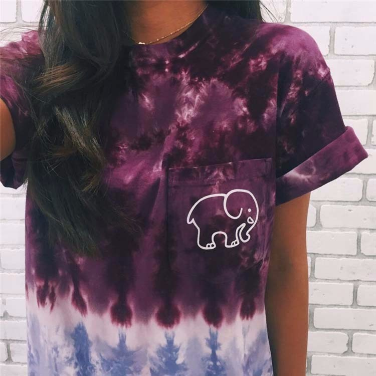 Women Funny Elephant Print Short Top Ladies Punk Summer T Shirt designer Short Kurtis Pakistani Image