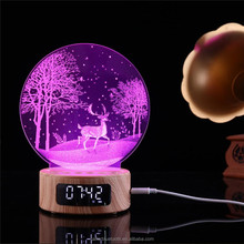 oem wireless speaker alarm clock led illusion acrylic lamp night 3d light for gifts