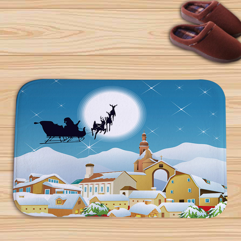 PEIYUAN Christmas Cartoon Santa Snowman Snow Flannel Doormat New Design Floor Mat Tapete for Decorator Home