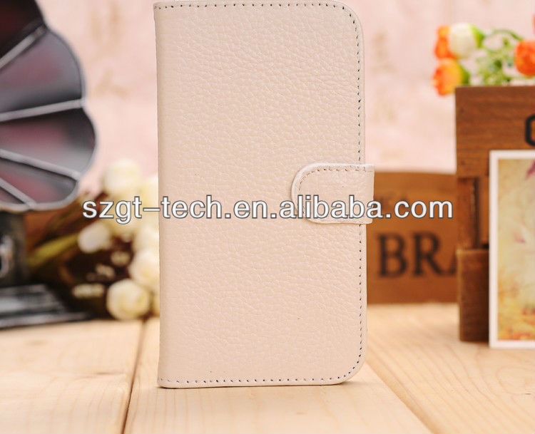 For Samsung I9500 Genuine Leather Case, White Lychee Real Genuine Leather Case For samsung s4