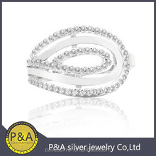 White rhodium nice polish line turning ring invisible setting wholesale price