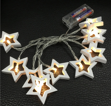 Battery Operated Warm Clear LED Wooden Star Christmas Decoration String Lights