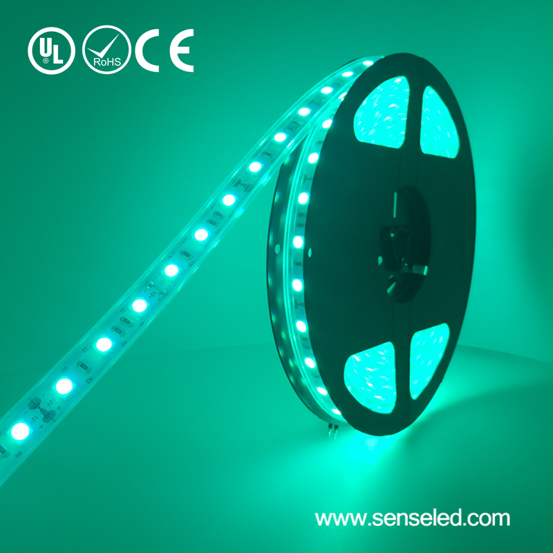 UL Listed LED Light Strip Waterproof IP67 12V 4.32W 18LED Per Foot 16.4FT Roll 5050 High Lumens RGB LED Light Strip