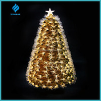 6ft golden shining fiber optic artificial christmas tree,China supplier.