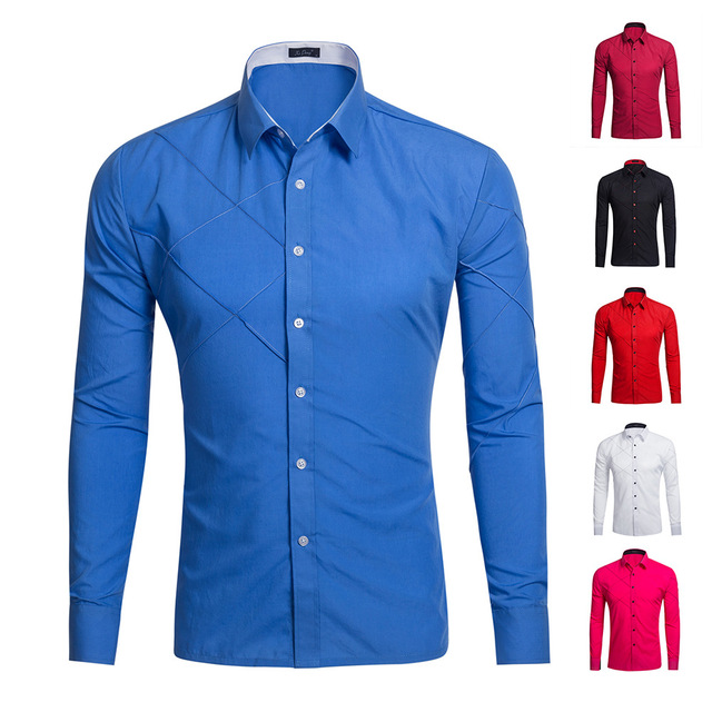 2017New Men Business Casual Long Sleeved Shirt Male Solid Color Dress Shirt Slim Fit Chemise Homme Camisa Social Masculina