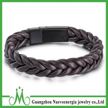 Braid Leather Bracelet Magnetic Buckle Stainless Steel Men Jewelry Accessories